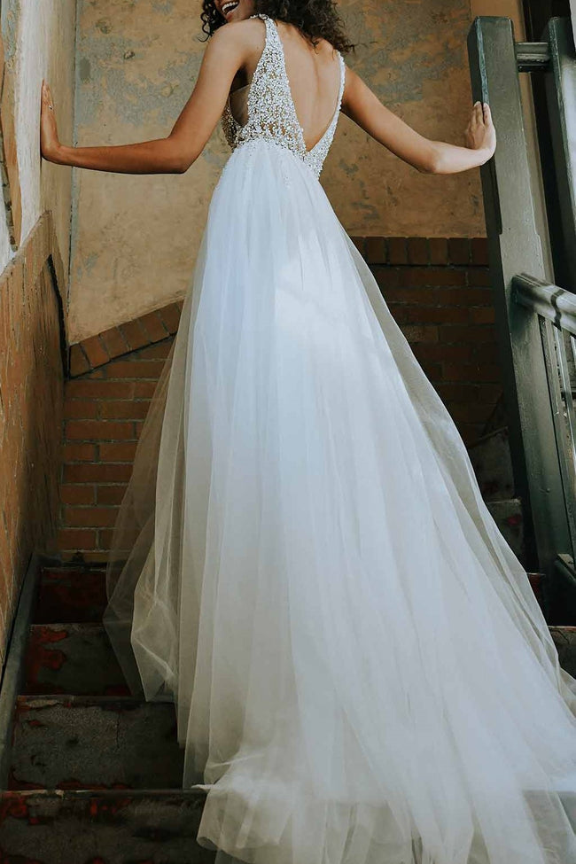 plunging-beading-tulle-wedding-dresses-with-sheer-bodice-1