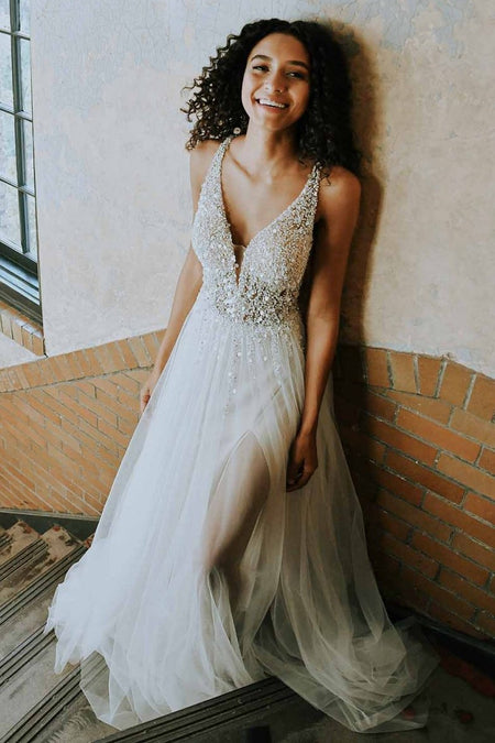 V-neckline Backless Simple Boho Wedding Dresses 2020