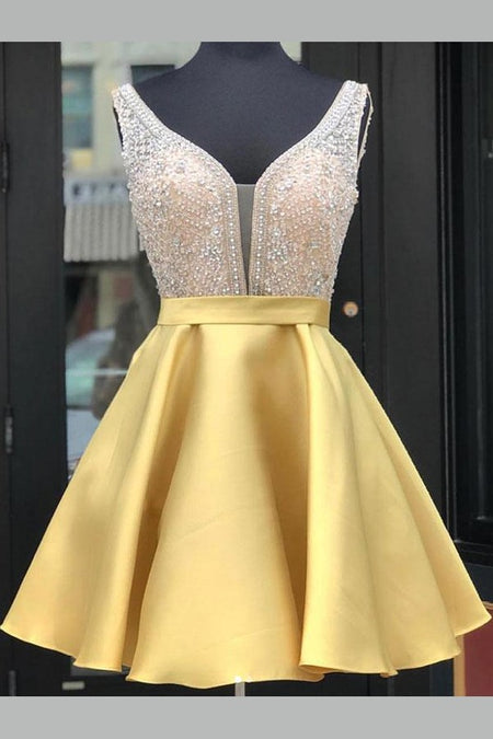Satin Light Yellow Homecoming Gown with Pockets