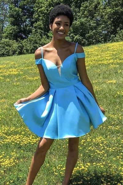 plunging-light-blue-satin-homecoming-dress-with-supported-straps