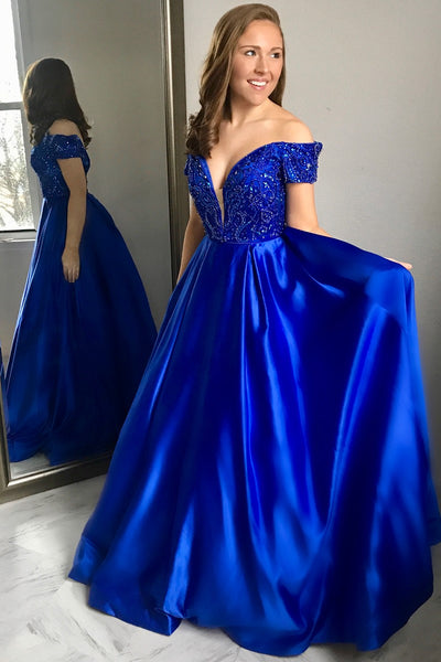 b955e3e9e33 Plunging Neckline Beaded Royal Blue Evening Formal Dress Near Me –  loveangeldress