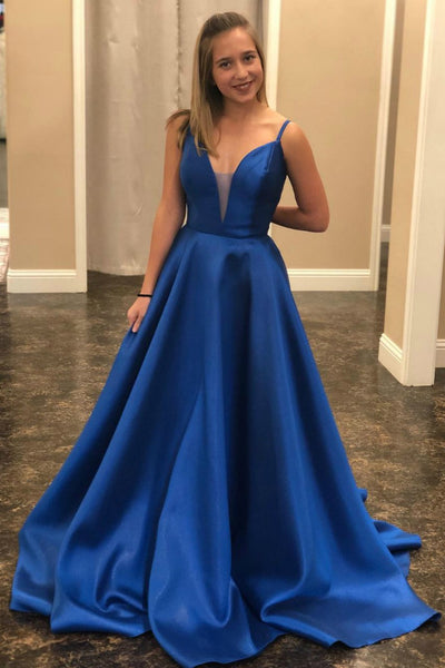plunging-neckline-satin-blue-prom-dresses-with-lace-up-back