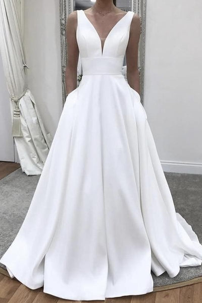 plunging-neckline-satin-simple-wedding-gown-with-pockets