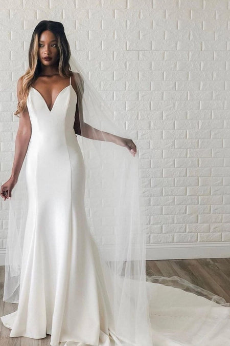 V-neck Lace Mermaid Wedding Dresses with Sleeves