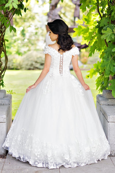 plunging-neckline-white-wedding-gown-with-flower-off-the-shoulder-1