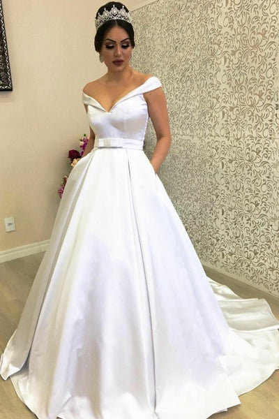 Plunging Off-the-shoulder Satin Ball Gown Wedding Dress with Pockets ...