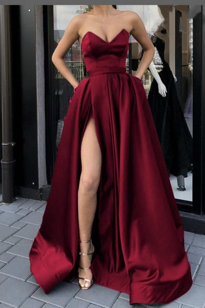 plunging-sweetheart-burgundy-prom-gowns-with-high-thigh-slit