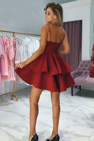 plunging-sweetheart-lace-dark-red-cocktail-dress-with-tiers-skirt-1