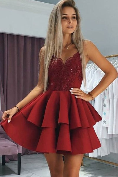 plunging-sweetheart-lace-dark-red-cocktail-dress-with-tiers-skirt