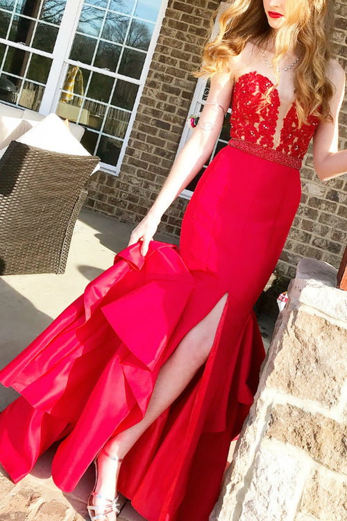plunging-sweetheart-lace-red-mermaid-prom-gown-with-ruffled-skirt