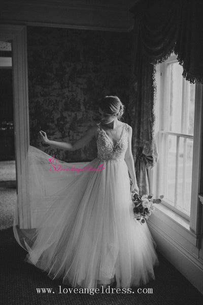 plunging-v-neck-a-line-tulle-crystals-bridal-gown