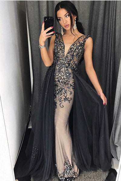plunging-v-neck-beaded-rhinestones-prom-dresses-with-tulle-skirt-1