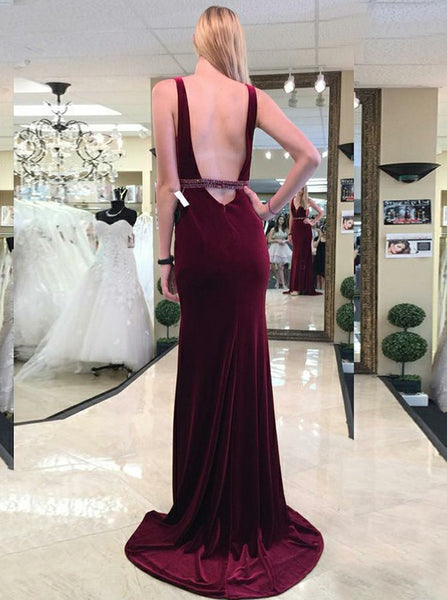 plunging-v-neck-burgundy-velvet-evening-dresses-1