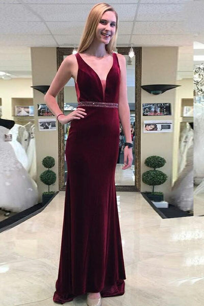 plunging-v-neck-burgundy-velvet-evening-dresses