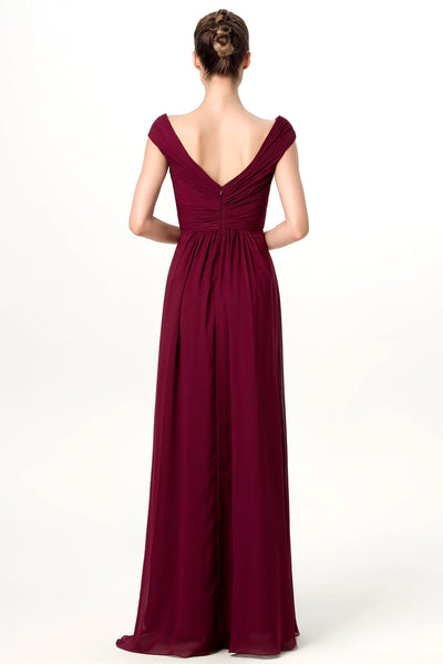 plunging-v-neck-cap-sleeves-burgundy-bridesmaid-gown