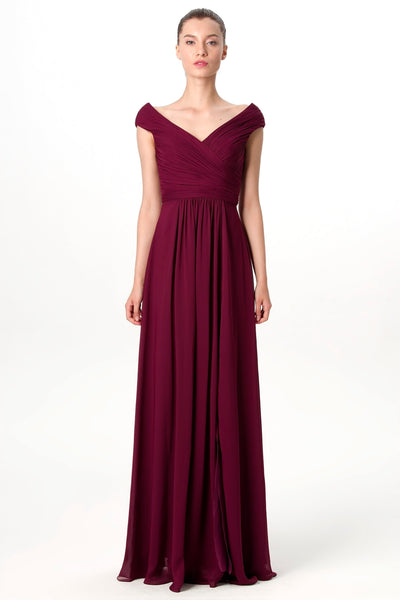 cap-sleeves-burgundy-bridesmaid-gown-with-slit-side