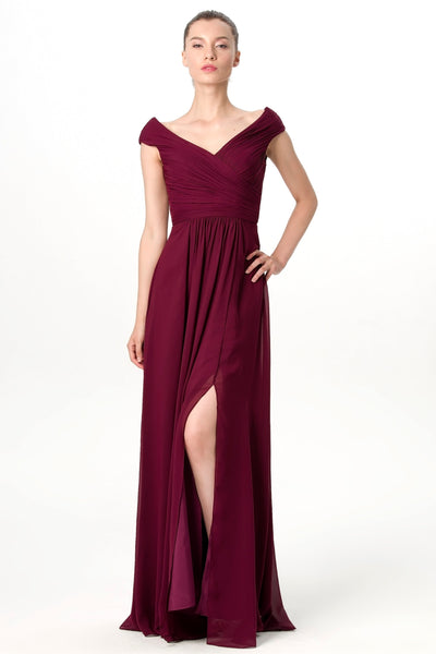 plunging-v-neck-cap-sleeves-burgundy-bridesmaid-gown-with-slit-side