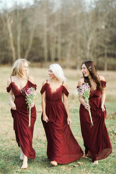 plunging-v-neck-chiffon-burgundy-bridesmaid-dress-with-spaghetti-straps