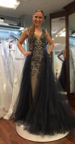 plunging-v-neck-dusty-navy-prom-gown-beaded-bodice-1