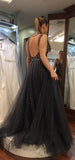 plunging-v-neck-dusty-navy-prom-gown-beaded-bodice-2