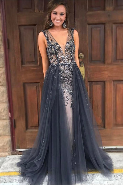 plunging-v-neck-dusty-navy-prom-gown-beaded-bodice