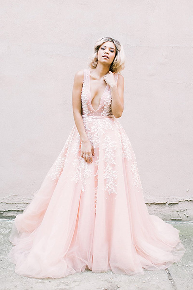 plunging-v-neck-pearls-pink-wedding-dresses-with-appliques-1