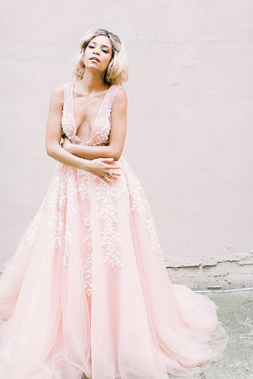 plunging-v-neck-pearls-pink-wedding-dresses-with-appliques