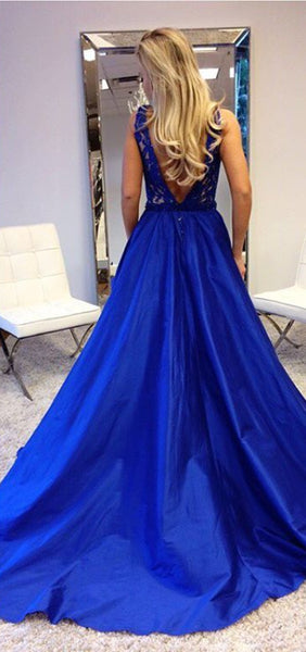 plunging-v-neck-royal-blue-lace-prom-dresses-with-satin-skirt-2