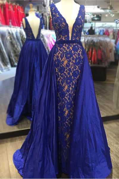 plunging-v-neck-royal-blue-lace-prom-dresses-with-satin-skirt-3