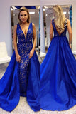 plunging-v-neck-royal-blue-lace-prom-dresses-with-satin-skirt