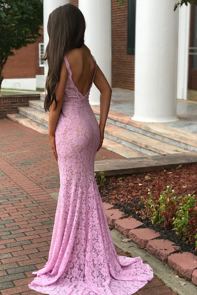 plunging-v-neck-sleeveless-beaded-lace-pink-prom-dress-1