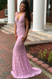 plunging-v-neck-sleeveless-beaded-lace-pink-prom-dress