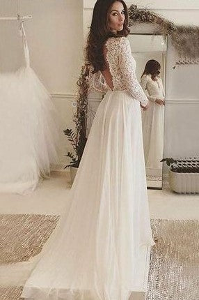 plunging-v-neckline-lace-chiffon-boho-wedding-dresses-with-sleeves-1