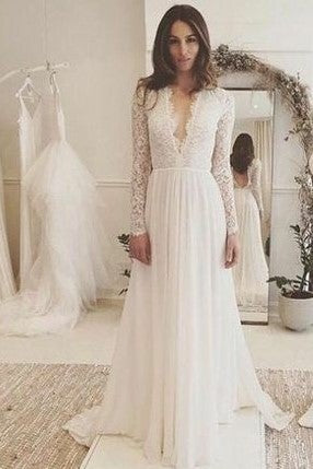 plunging-v-neckline-lace-chiffon-boho-wedding-dresses-with-sleeves