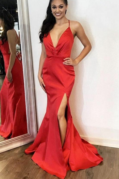 a1f0fa4befb9 Plunging V-neckline Satin Red Prom Dresses Slit Side – loveangeldress