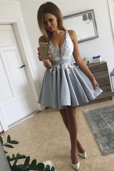 plunging-v-neckline-semi-formal-dress-with-lace-bodice