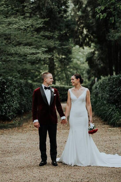 plunging-v-neckline-simple-spandex-wedding-dresses-with-cathedral-train-1