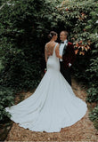 plunging-v-neckline-simple-spandex-wedding-dresses-with-cathedral-train-2