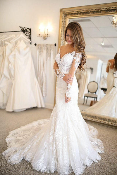 plunging-v-neckline-tulle-mermaid-wedding-dresses-lace-long-sleeves