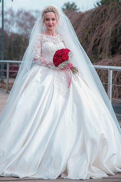 plus-size-wedding-dress-lace-long-sleeves-satin-skirt