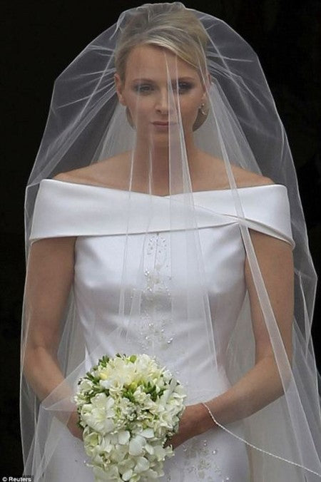 Elbow Length Beaded Crystal Wedding Veil 1 Layer in Ivory