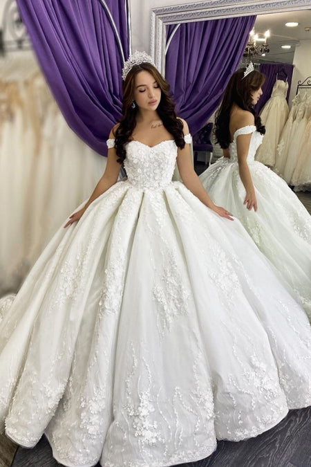 Long Train Pearls Wedding Gowns Satin Off-the-shoulder