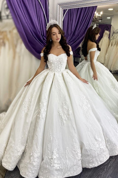 princess-floral-lace-ball-gown-wedding-dress-off-the-shoulder