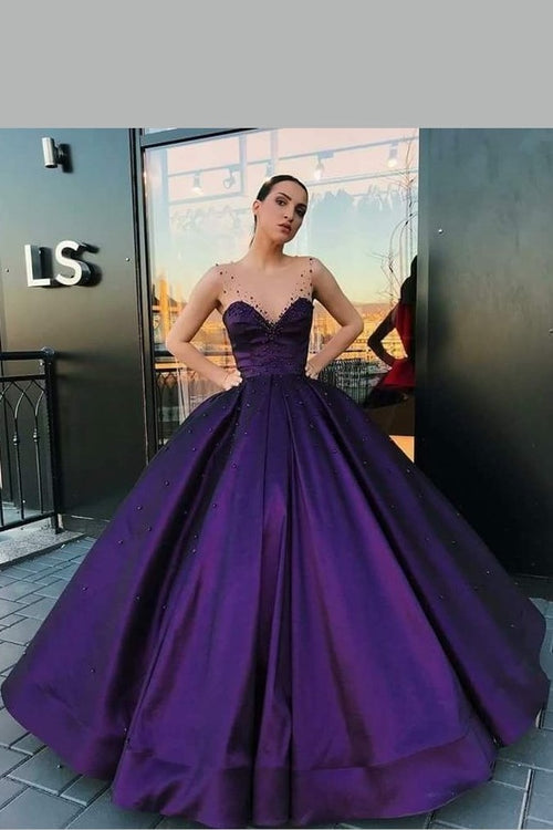purple-satin-ball-gown-dinner-party-dress-with-illusion-straps