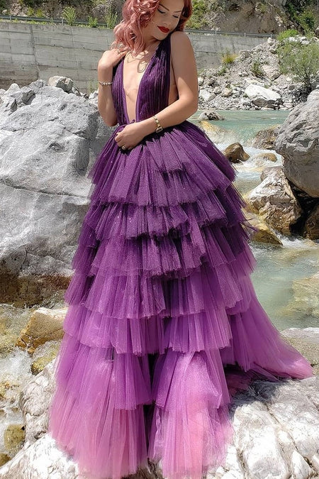 Velvet Tank Top Prom Dresses with Tulle Skirt