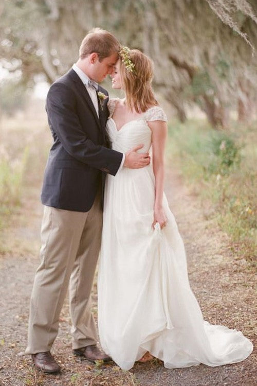 queen-anne-neck-boho-style-chiffon-wedding-dress-for-summer-1
