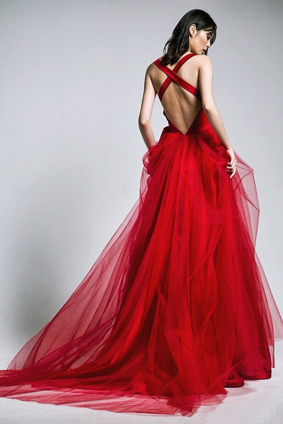 red-a-line-tulle-v-neck-long-prom-gowns-with-double-bows-sash-1