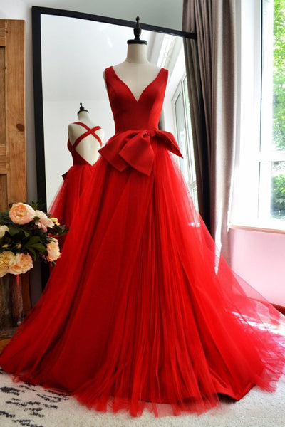 red-a-line-tulle-v-neck-long-prom-gowns-with-double-bows-sash-2