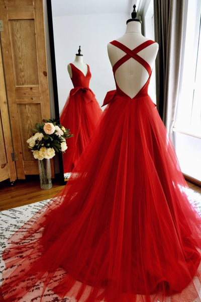 red-a-line-tulle-v-neck-long-prom-gowns-with-double-bows-sash-3