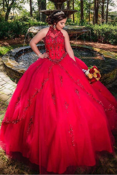 red-ball-gown-quinceanera-dresses-high-neck-beaded-tulle-skirt